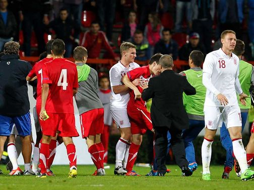 A mass brawl followed England U21&#39;s victory in Serbia in mid-October