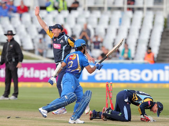 Sachin Tendulkar is run out