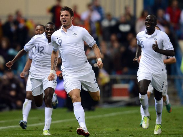 Olivier Giroud celebrates his equaliser