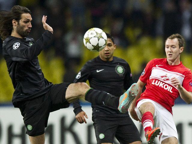 Georgios Samaras challenges Aiden McGeady
