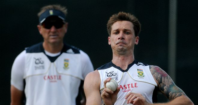 Dale Steyn (right): South Africa paceman is watched by bowling coach Allan Donald (left) during a net session