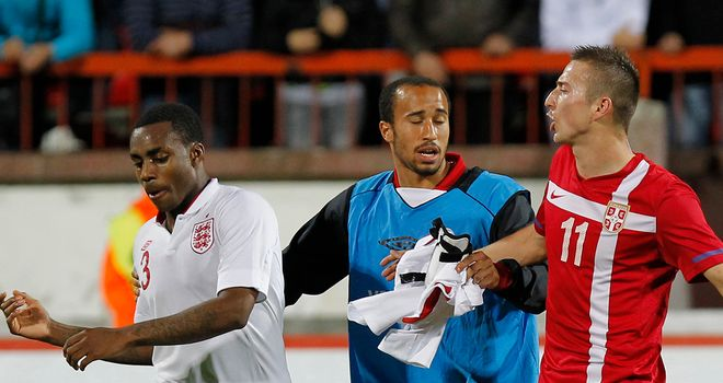 Disgraceful scenes marred the end of England U21s' game in Serbia