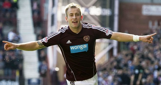 Danny Grainger: Celebrates a goal against Motherwell