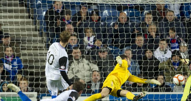Andrew Shinnie slots home Inverness' opener against Rangers at Ibrox