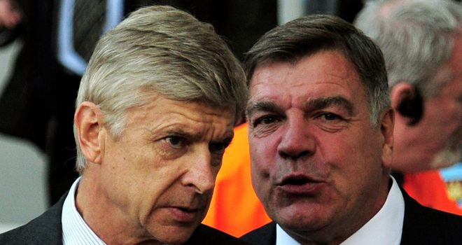 Arsenal's Arsene Wenger and Sam Allardyce of West Ham: May have to wait to renew rivalry