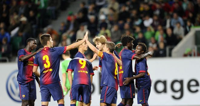 Barcelona: Celebrate win at Wolfsburg