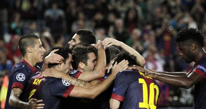 Jordi Alba: Barcelona full-back is mobbed after scoring a late winner against Celtic