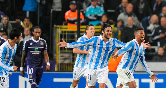 Eliseu: Celebrates opening goal for Malaga