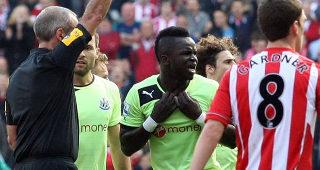 Cheick Tiote: Has been sent off twice and booked 29 times for Newcastle