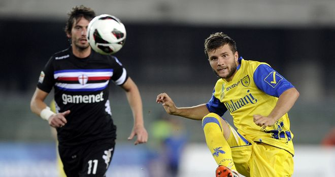 Perparim Hetemaj plays the ball forward for Chievo