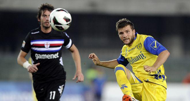 Perparim Hetemaj plays the ball forward for Chievo