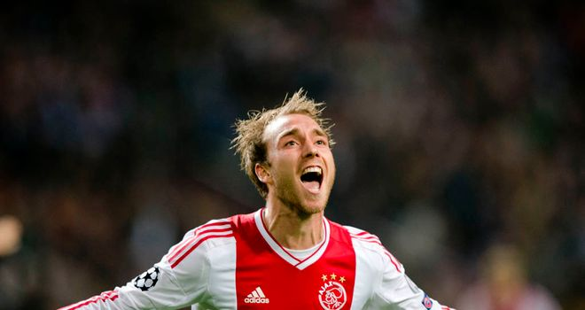 Christian Eriksen in Champions Leage action for Ajax against Manchester City.