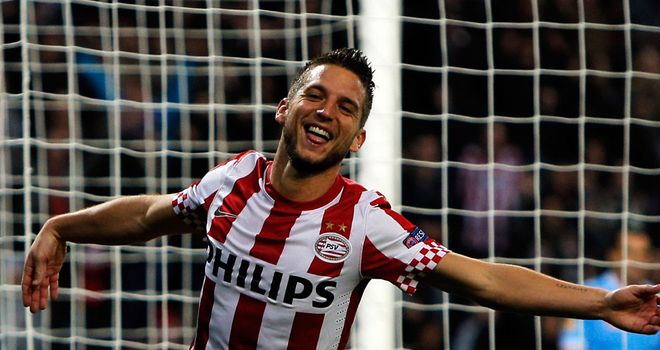 Dries Mertens celebrates scoring for PSV