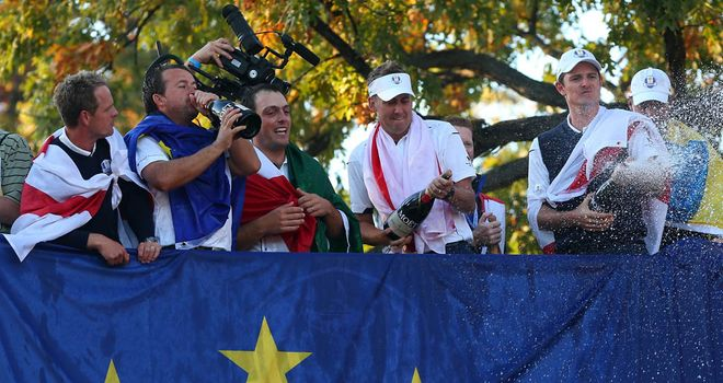 Europe celebrate the win which hit the bookies hard
