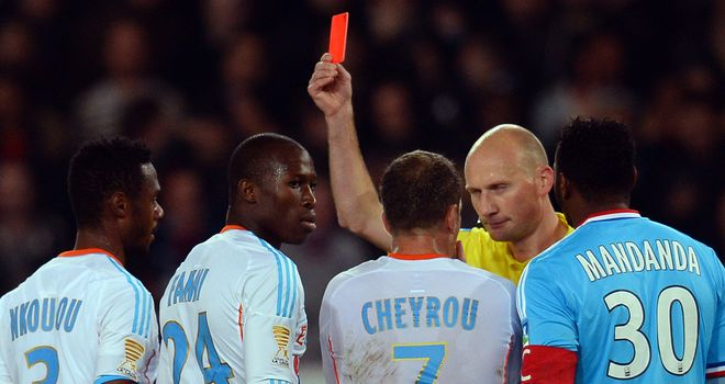 Rod Fanni: Sent off for Marseille at PSG