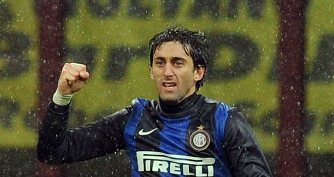 Diego Milito celebrates for Inter Milan