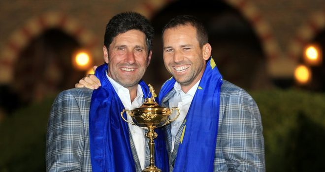 Sergio Garcia (R) with Europe captain Jose Maria Olazabal in the aftermatch of Sunday's famous win
