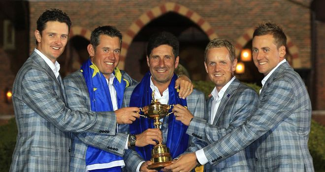 Remarkable: Rose, Westwood, Donald and Poulter helped captain Olazabal secure incredible win