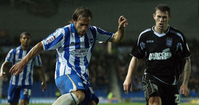 Inigo Calderon (l): Hit the post for Brighton