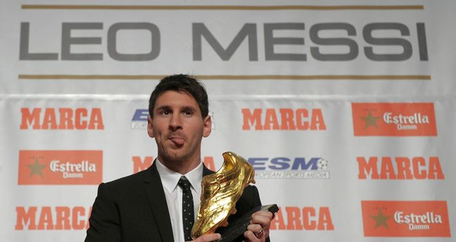 Lionel Messi: Barcelona ace has collected the Golden Boot award for the second time