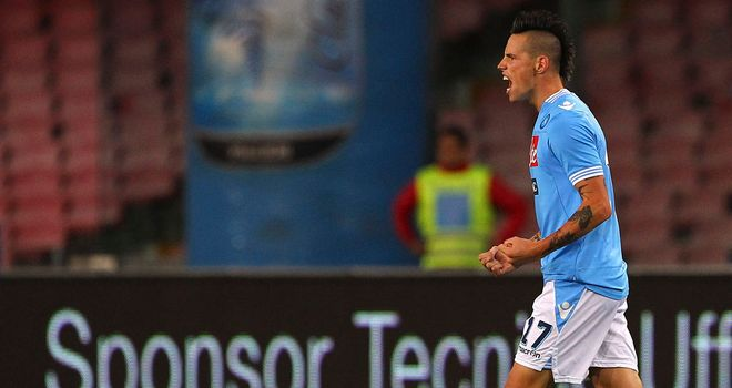 Marek Hamsik celebrates his winning goal