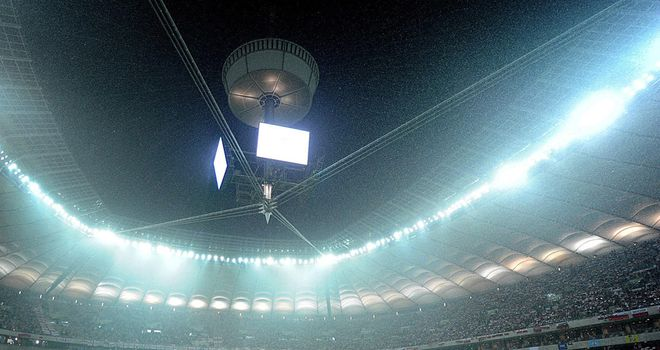 Warsaw National Stadium: Roof was left open on Tuesday, forcing World Cup qualifier to be postponed