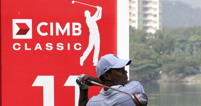Tiger Woods in action in Wednesday's practice round. He's the clear favourite this week