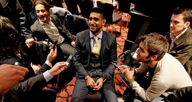 Amir Khan talks to the press about his upcoming fight with undefeated Carlos Molina