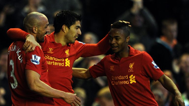 Luis Suarez celebrates a Liverpool goal with Jose Enrique and Raheem Sterling