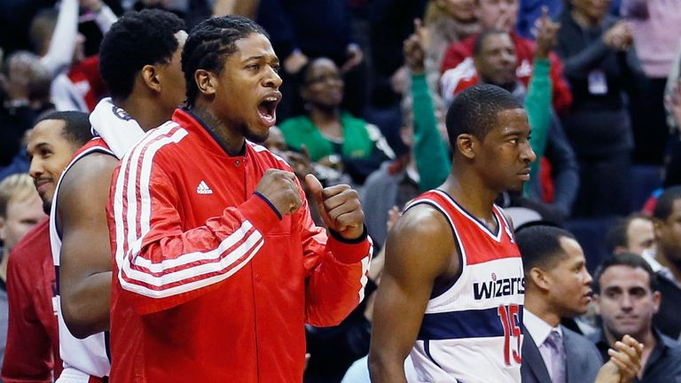 Washington Wizards players watch on in the closing moments of their win over the Trail Blazers