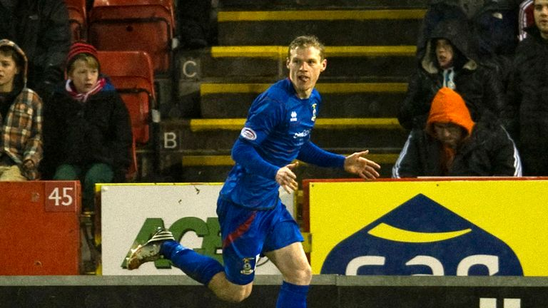 Billy McKay: Celebrates one of his goals for Caley