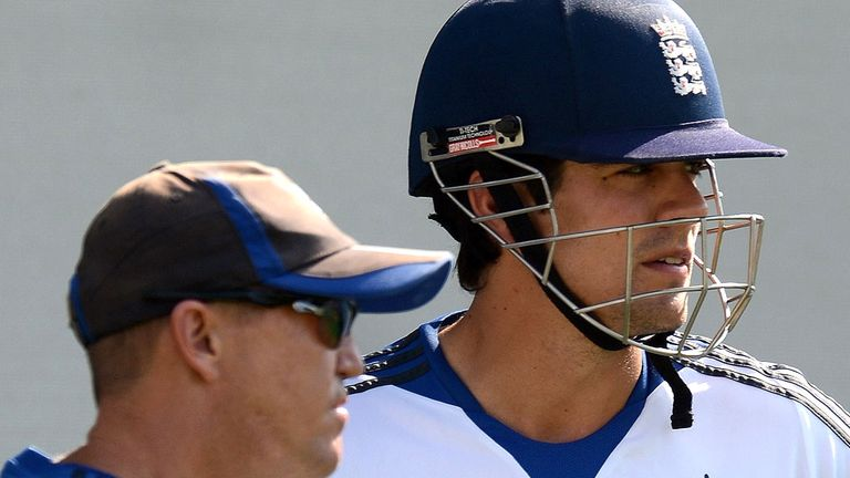 Alastair Cook (R): Inspiration for the rest of the team, says Andy Flower (L)