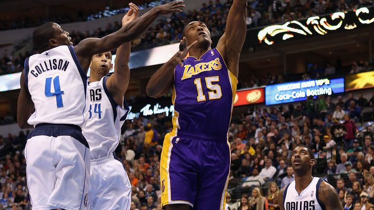 Action from Mavericks-Lakers clash on Saturday