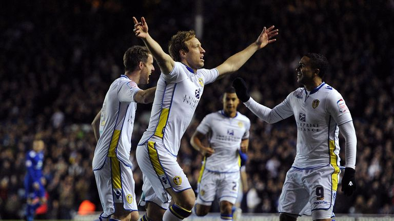 Luciano Becchio: Celebrates scoring from the spot for Leeds