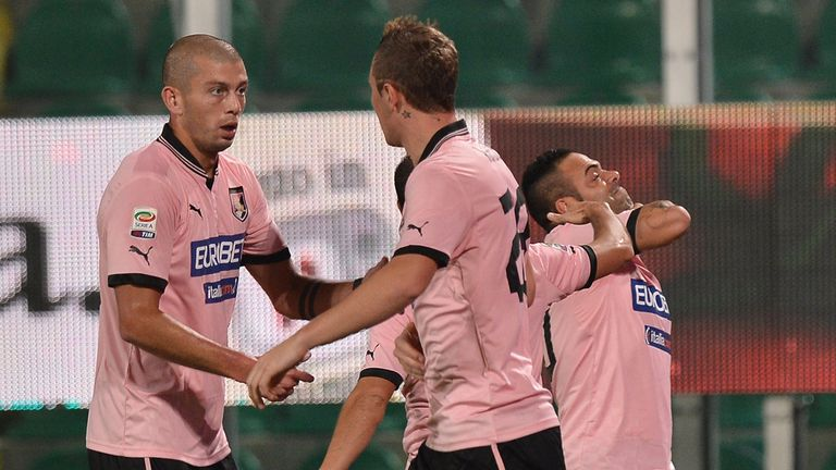 Palermo celebrate with Fabrizio Miccoli.