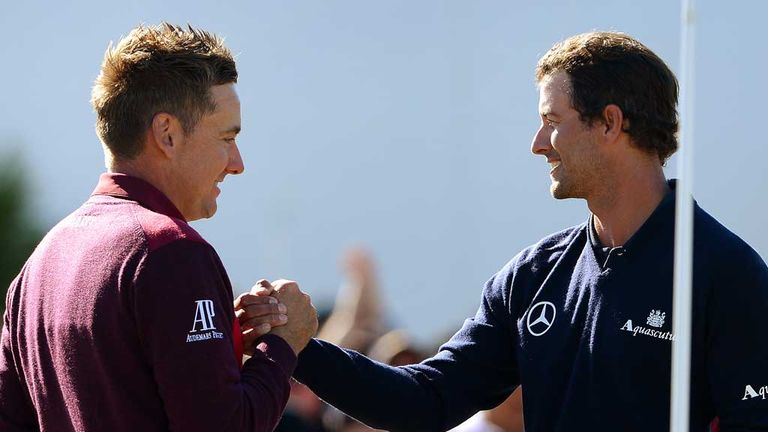 Adam Scott and Ian Poulter: Handshakes after final round battle in Melbourne