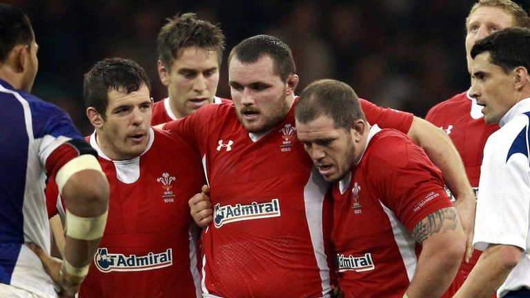 Aaron Jarvis, Ken Owens and Paul James: Wales front row in action