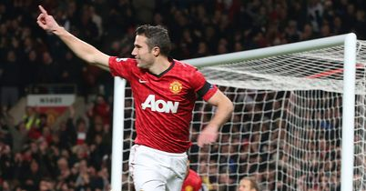 Robin van Persie: Manchester United striker celebrates after scoring the fastest goal of the season