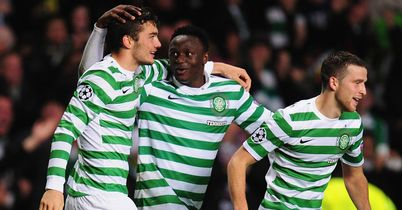 Tony Watt: Celebrates his goal against Barcelona