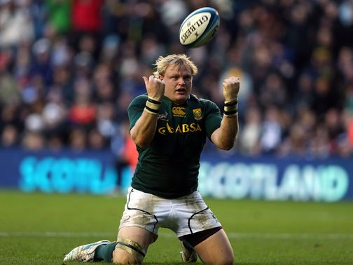 Adrian Strauss celebrates a South Africa try