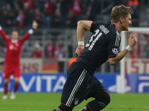 Bastian Schweinsteiger scores the opening goal of the night