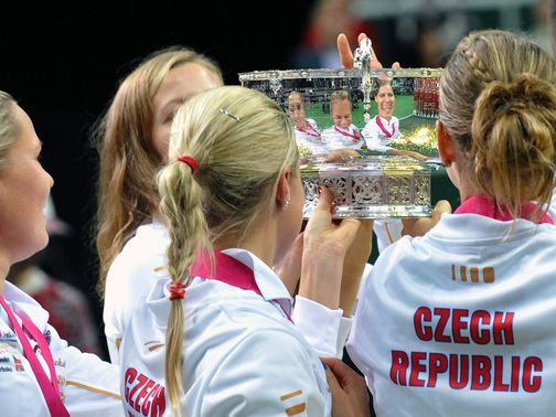 The Czech Republic players celebrate another success