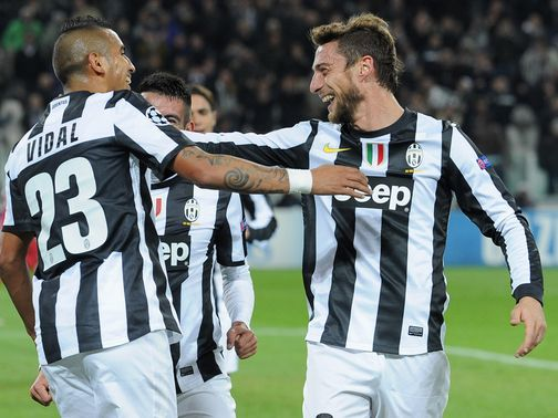 Juventus celebrate against Nordsjaelland
