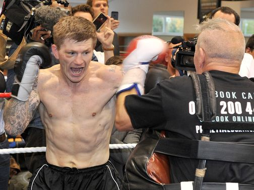 Ricky Hatton trains at an open workout session