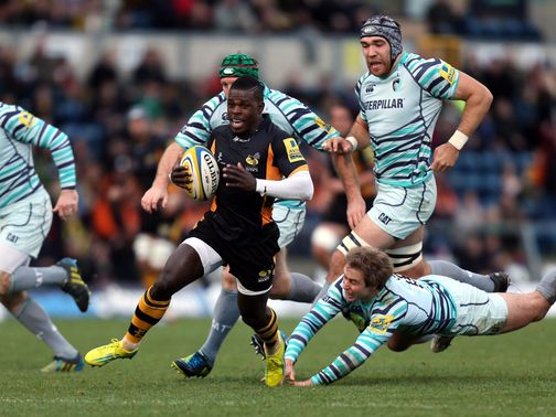 Christian Wade of Wasps charges forward