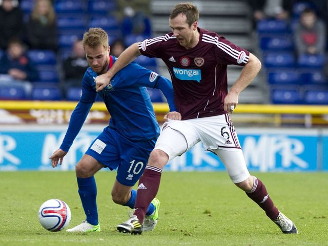 Andrew Shinnie and Andy Webster battle for the ball