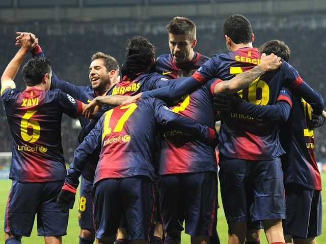 Barcelona celebrate against Spartak Moscow