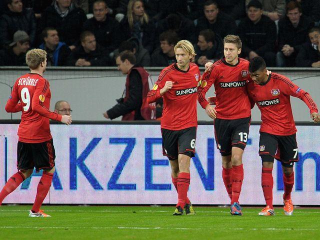 Bayer Leverkusen celebrate Jens Hegeler's goal