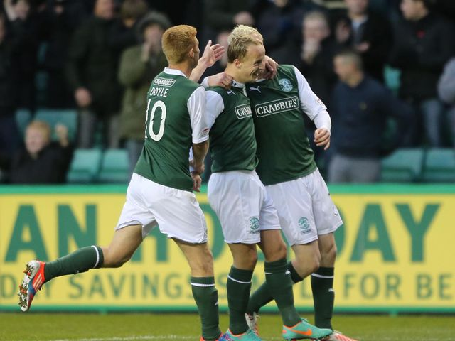 Hibernian celebrate Griffiths' double strike