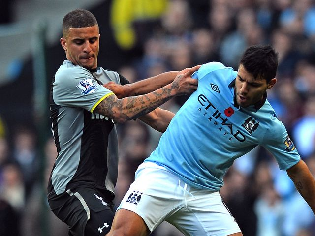 Kyle Walker and Sergio Aguero do battle
